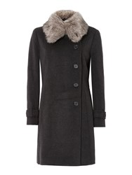 Dickins And Jones Longline Coat With Detachable Faur Fur Collar Charcoal