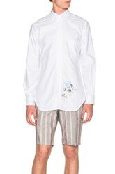 Thom Browne Classic Button Down Shirt With Palace Embroidery In White