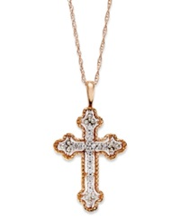 Macy's Diamond Antique Cross Pendant Necklace In 14K Rose Gold 1 10 Ct. T.W.