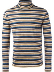 Junya Watanabe Comme Des Garcons Man Striped Roll Neck Jumper Brown