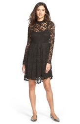 Painted Threads High Neck Lace Skater Dress Black