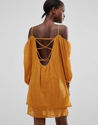 Mango Off The Shoulder Loose Fit Dress Light Brown