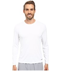 Hot Chillys Peach Solid Crewneck White Men's Long Sleeve Pullover