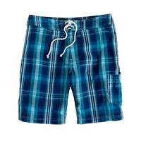 J.Crew 9' Board Shorts In Surf Plaid Navy Green
