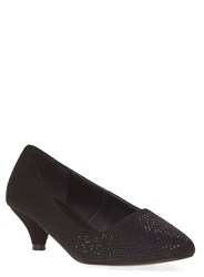 Evans Extra Wide Fit Black Gem Kitten Heel