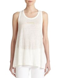 Derek Lam Hardware Detail Linen Tunic Top Soft White