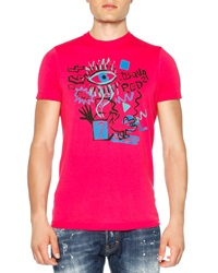 Dsquared2 Graffiti Print Graphic Tee Pink
