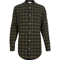 River Island Mens Green Checked Longline Grandad Shirt