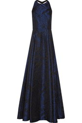 Alice Olivia Teifer Leather Trimmed Jacquard Gown Storm Blue