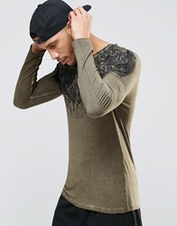 Asos Muscle Long Sleeve T Shrit With Yoke Print And Pigment Wash Green