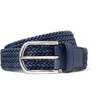 Tod's 3.5 Blue Leather Trimmed Woven Cord Belt Navy