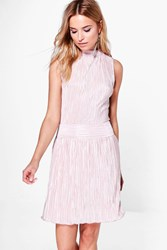 Boohoo High Neck Pleated Skater Dress Coral