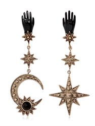 Roberto Cavalli Star And Moon Brass Earrings