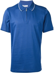 Brioni Zip Polo Shirt Blue