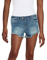 Dittos Cut Off Denim Shorts Blue