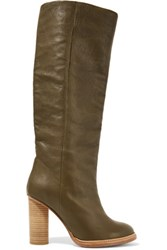 M Missoni Leather Boots Army Green