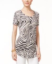 Jm Collection Petite Zebra Print Short Sleeve Top Only At Macy's Neutral