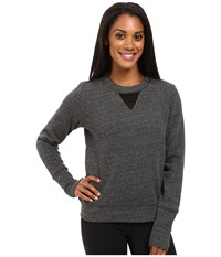 Alo Yoga Downtown Long Sleeve Top Charcoal Heather Black Women's Workout Gray