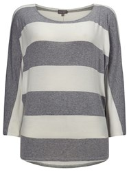 Phase Eight Striped Batwing Top Silver Ivory