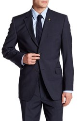 Ted Baker Blue Check Two Button Notch Lapel Wool Jacket