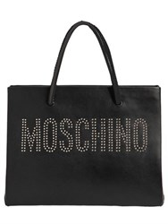 Moschino Logo Studded Leather Tote Bag