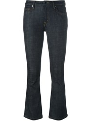 Victoria Beckham Cropped Flared Trousers Blue