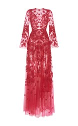 Zuhair Murad Long Embroidered Tulle Dress With Flared Sleeves Pink