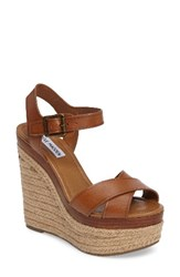Steve Madden Women's Paso Espadrille Wedge Sandal Cognac Leather