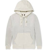 Nigel Cabourn Two Tone Fleece Back Cotton Jersey Zip Up Hoodie Gray