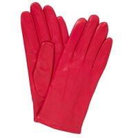 John Lewis Fleece Lined Leather Gloves Bright Pink