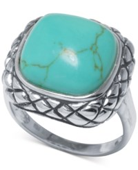 Macy's Manufactured Turquoise Scrolled Ring 1 Ct. T.W. In Sterling Silver