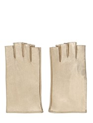 Mario Portolano Fingerless Metallic Leather Micro Gloves