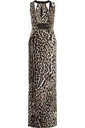 Just Cavalli Cutout Leopard Print Crepe Maxi Dress Animal Print