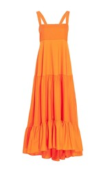 Mds Stripes Tiered Tank Dress Orange