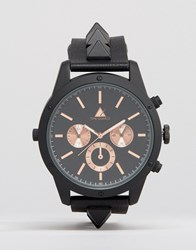 Asos Watch With Studded Strap In Black Black