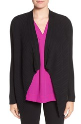 Chaus Women's Ribbed Drape Front Cardigan Rich Black