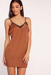 Missguided Lace Trim Satin Cami Dress Tan Brown
