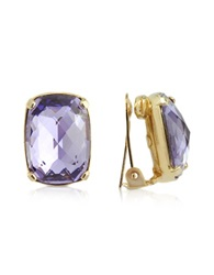 A Z Collection Purple Clip On Drop Earrings Gold