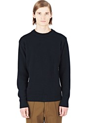 Marni Crew Neck Ribbed Knit Sweater Black