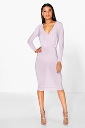 Boohoo Slinky Plunge Neck Midi Bodycon Dress Violet