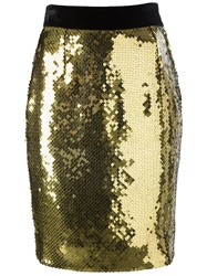 Moschino Vintage Sequined Pencil Skirt Metallic