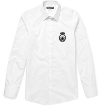 Dolce And Gabbana Slim Fit Embellished Cotton Shirt White