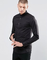 Only And Sons Skinny Shirt With Button Down Collar With Stretch Black