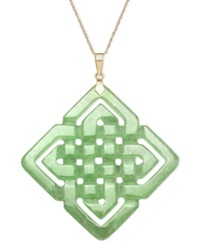 Macy's 14K Gold Necklace Jade Large Cutout Weave Pendant