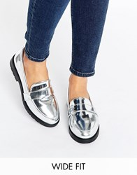 New Look Wide Fit Metallic Loafer Silver