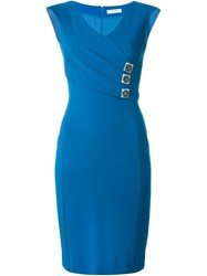 Versace Collection Fitted V Neck Dress Blue