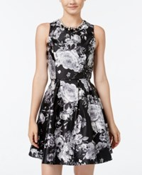 Crystal Doll Juniors' Embellished Floral Print Fit And Flare Dress Black White