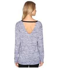 Calvin Klein Jeans Marl Long Sleeve V Back Tee Blueberry Dust Women's T Shirt