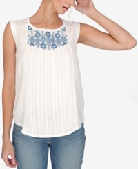 Lucky Brand Sleeveless Embroidered Blouse Multi