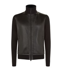 Z Zegna Textured Leather And Knit Bomber Jacket Male Black
